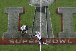 New England Patriots' Stephen Gostkowski attempts a field goal against the Atlanta Falcons during the second half of the NFL Super Bowl 51 football game Sunday, Feb. 5, 2017, in Houston. (AP Photo/Tim Donnelly)
