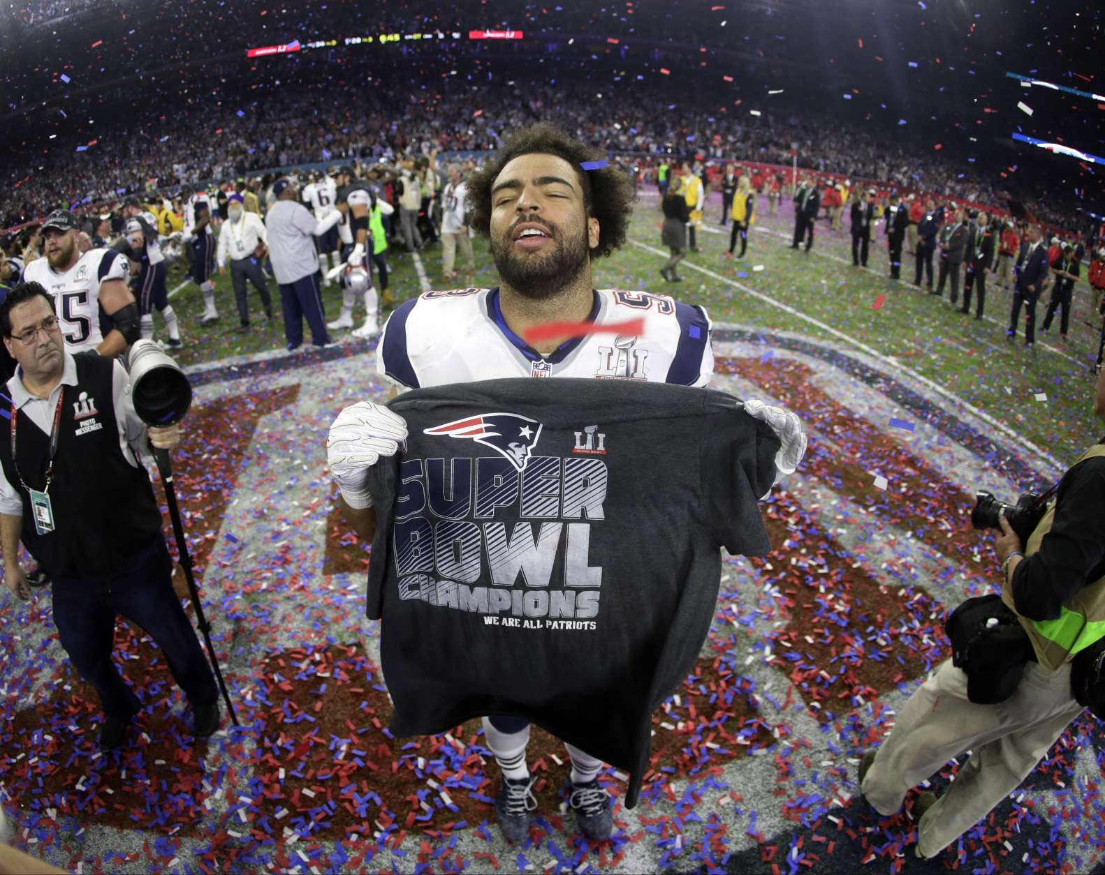 New England Patriots' Kyle Van Noy celebrates after the NFL Super Bowl 51 football game Sunday, Feb. 5, 2017, in Houston. The Patriots defeated the Atlanta Falcons 34-28 in overtime. (AP Photo/Mark Humphrey)