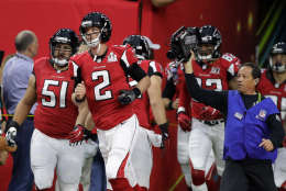 Atlanta Falcons' Matt Ryan leads the team onto the field, before the NFL Super Bowl 51 football game against the New England Patriots, Sunday, Feb. 5, 2017, in Houston. (AP Photo/Darron Cummings)