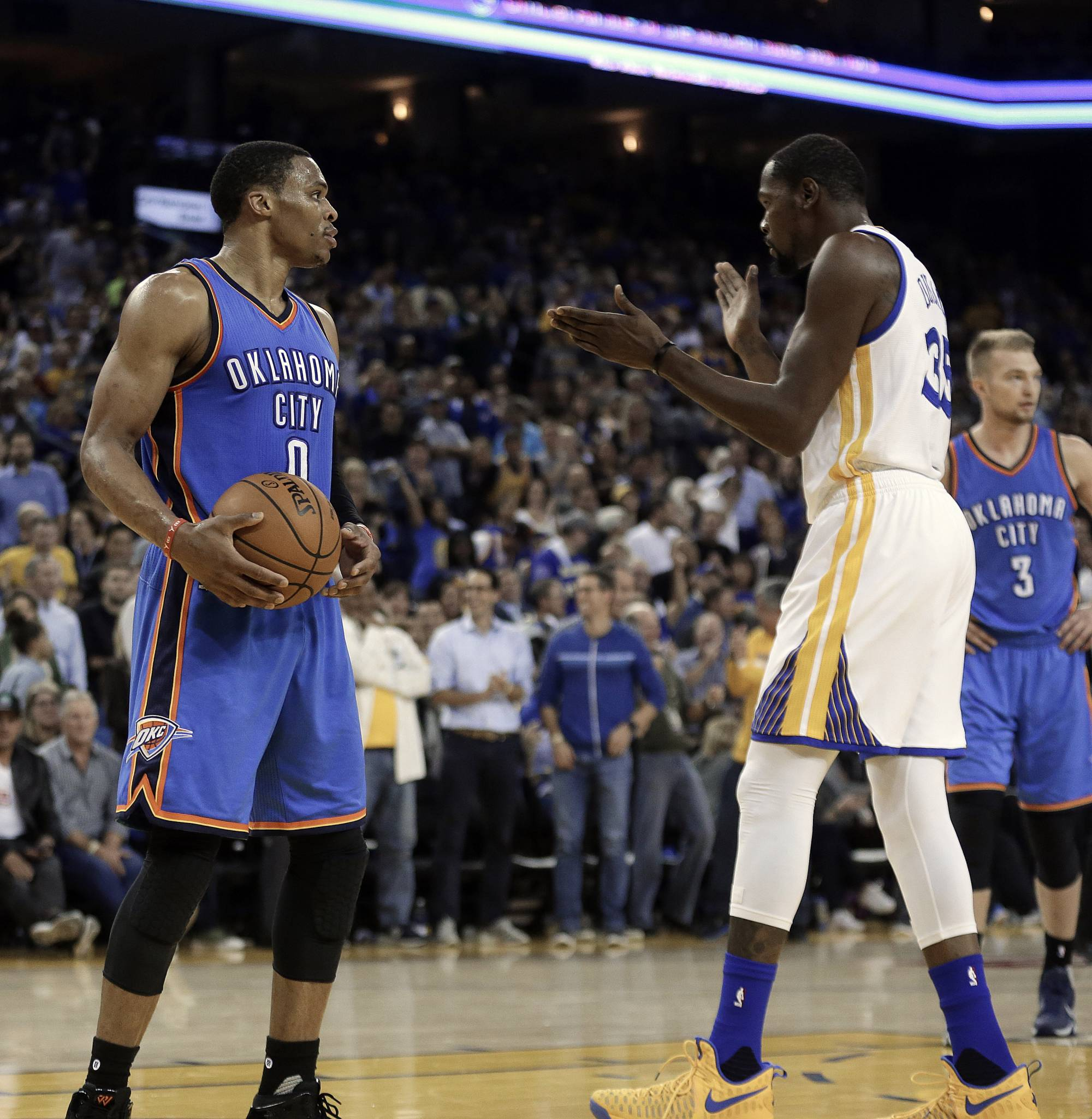 27c452bbfca NEW ORLEANS (AP) — Russell Westbrook and Kevin Durant had plenty to say at  their first All-Star appearance. Just not about one another.