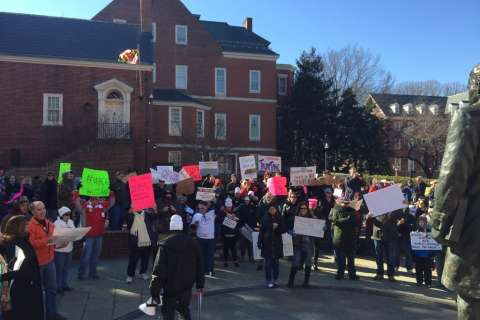 Trump protestors gather outside Md. governor's house