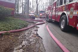 """""""The web of hosing needed for the McLean house fire,"""" said WTOP's Dennis Foley. (WTOP/Dennis Foley)"""
