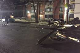 Strong winds toppled a roof in Southeast D.C. early Monday. (Courtesy D.C. Fire and EMS)