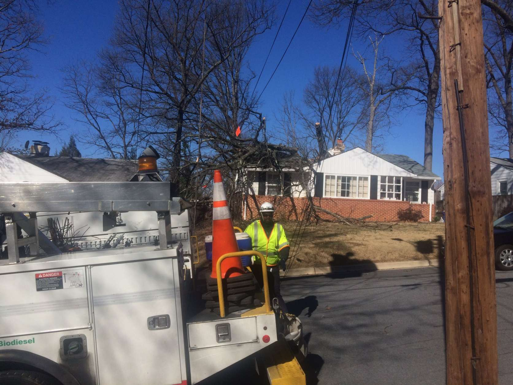 A home on Burnett Avenue in Silver Spring was evacuated after a large tree fell on a house, Wires were down and the road was closed between Lanark Way and Stirling Road. (Courtesy Pete Piringer)