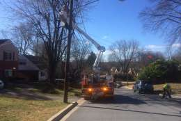 Wires were down and the road was closed between Lanark Way and Stirling Road in Silver Spring, Maryland. (Courtesy Pete Piringer)