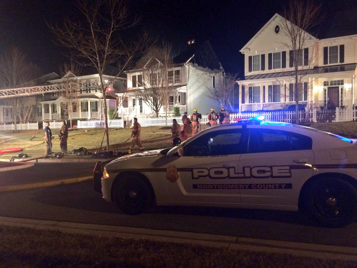 The quick response of a police officer who arrived first at the scene saved a family of four from a house fire in Montgomery County, Maryland. (Courtesy Pete Piringer/Montgomery County Fire & Rescue)