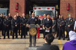 D.C. Fire and EMS Chief Gregory Dean announced department improvements during a news conference Wednesday in Northeast. (WTOP/Kristi King)