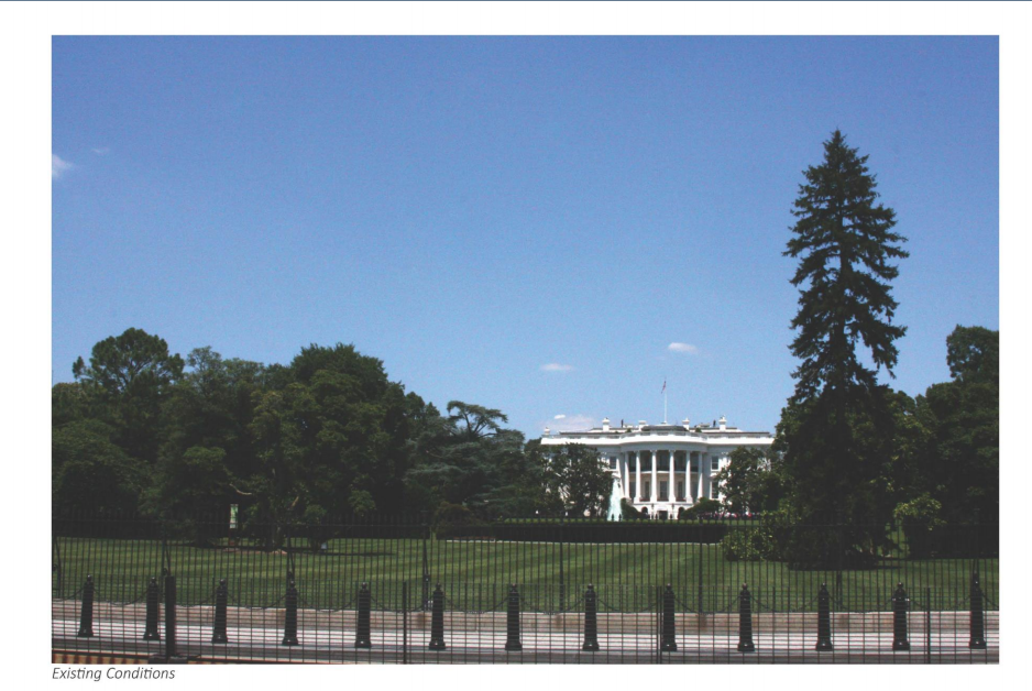This is the current view of the White House from the south side which can be compared with the next slide. (Courtesy National Capital Planning Commission)