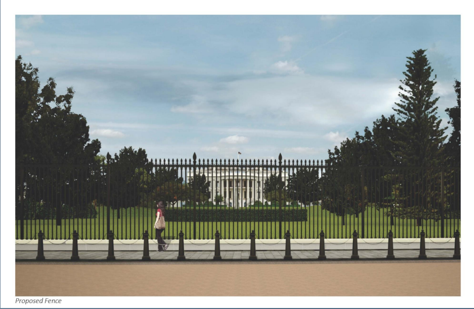 The new fence will stand 13-feet-one-inch tall, a full five feet taller than the existing fence. (Courtesy National Capital Planning Commission)