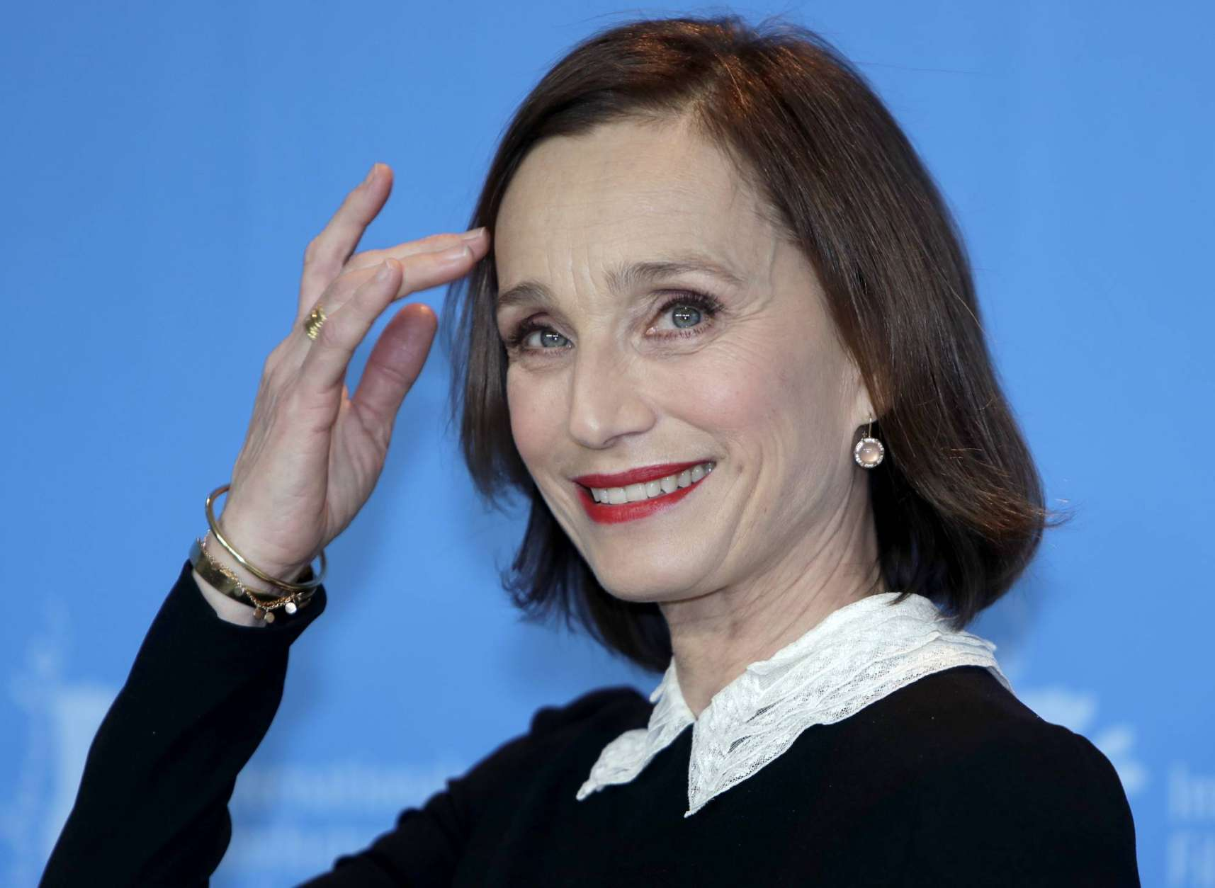 Actress Kristin Scott Thomas pose for the photographers during a photo call for the film 'The Party' at the 2017 Berlinale Film Festival in Berlin, Germany, Monday, Feb. 13, 2017. (AP Photo/Michael Sohn)