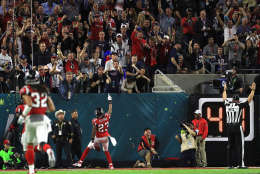 HOUSTON, TX - FEBRUARY 05: Robert Alford #23 of the Atlanta Falcons celebrates his interception touchdown during the second quarter against the New England Patriots during Super Bowl 51 at NRG Stadium on February 5, 2017 in Houston, Texas.  (Photo by Mike Ehrmann/Getty Images)