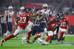 HOUSTON, TX - FEBRUARY 05: Malcolm Mitchell #19 of the New England Patriots runs after a catch in the fourth quarter against Robert Alford #23 of the Atlanta Falcons during Super Bowl 51 at NRG Stadium on February 5, 2017 in Houston, Texas.  (Photo by Kevin C. Cox/Getty Images)