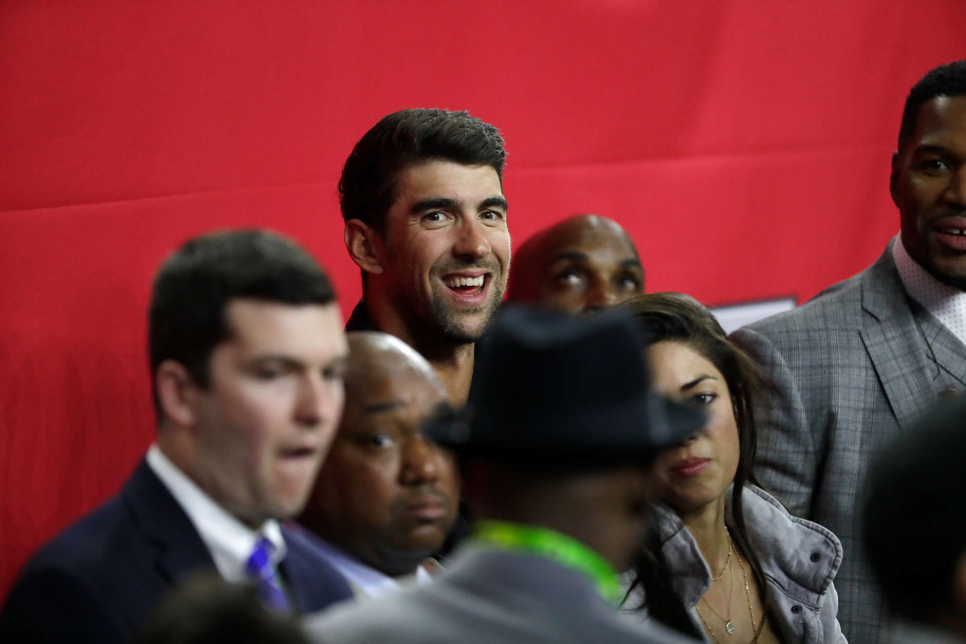 HOUSTON, TX - FEBRUARY 05:  Olympic Swimmer Michael Phelps is seen during Super Bowl 51 between the Atlanta Falcons and the New England Patriots at NRG Stadium on February 5, 2017 in Houston, Texas.  (Photo by Jamie Squire/Getty Images)
