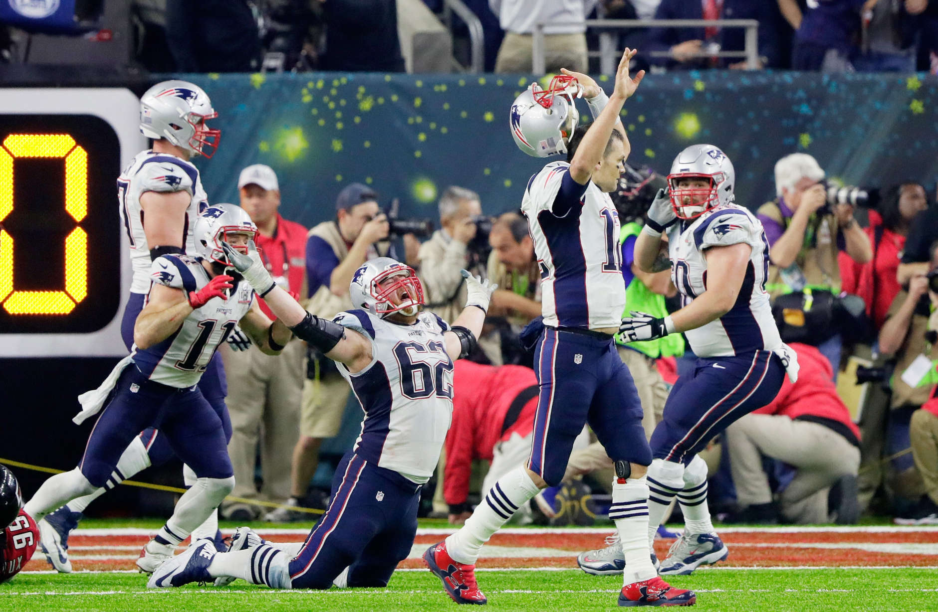 HOUSTON, TX - FEBRUARY 05:  Tom Brady #12 of the New England Patriots reacts after defeating the Atlanta Falcons 34-28 in overtime during Super Bowl 51 at NRG Stadium on February 5, 2017 in Houston, Texas.  (Photo by Jamie Squire/Getty Images)