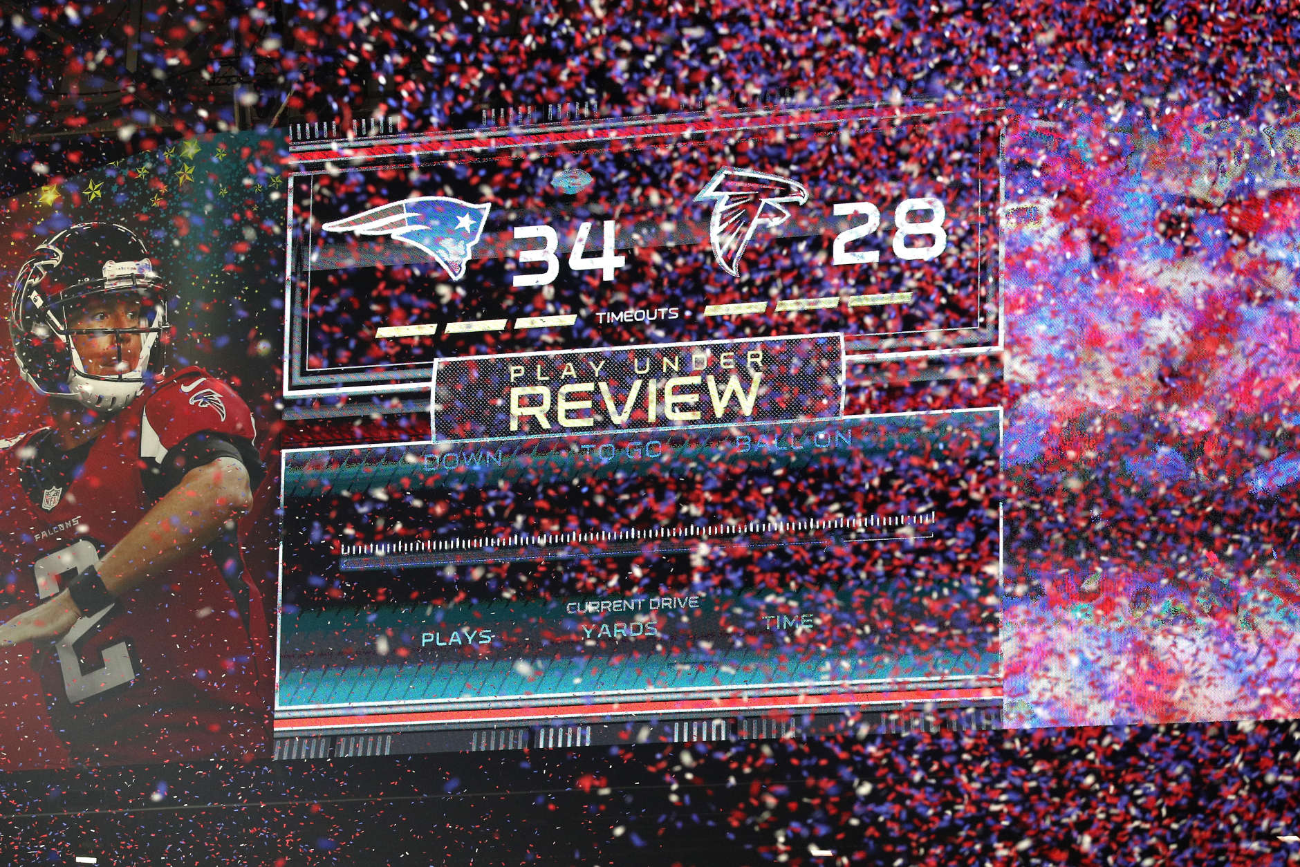 HOUSTON, TX - FEBRUARY 05:  Confetti falls after the Patriots defeat the Falcons 34-28 in ovetime during Super Bowl 51 at NRG Stadium on February 5, 2017 in Houston, Texas.  (Photo by Patrick Smith/Getty Images)