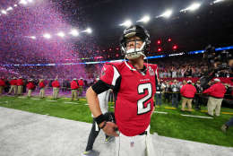 HOUSTON, TX - FEBRUARY 05:  Matt Ryan #2 of the Atlanta Falcons walks off the field after losing 34-28 to the New England Patriots during Super Bowl 51 at NRG Stadium on February 5, 2017 in Houston, Texas.  (Photo by Tom Pennington/Getty Images)