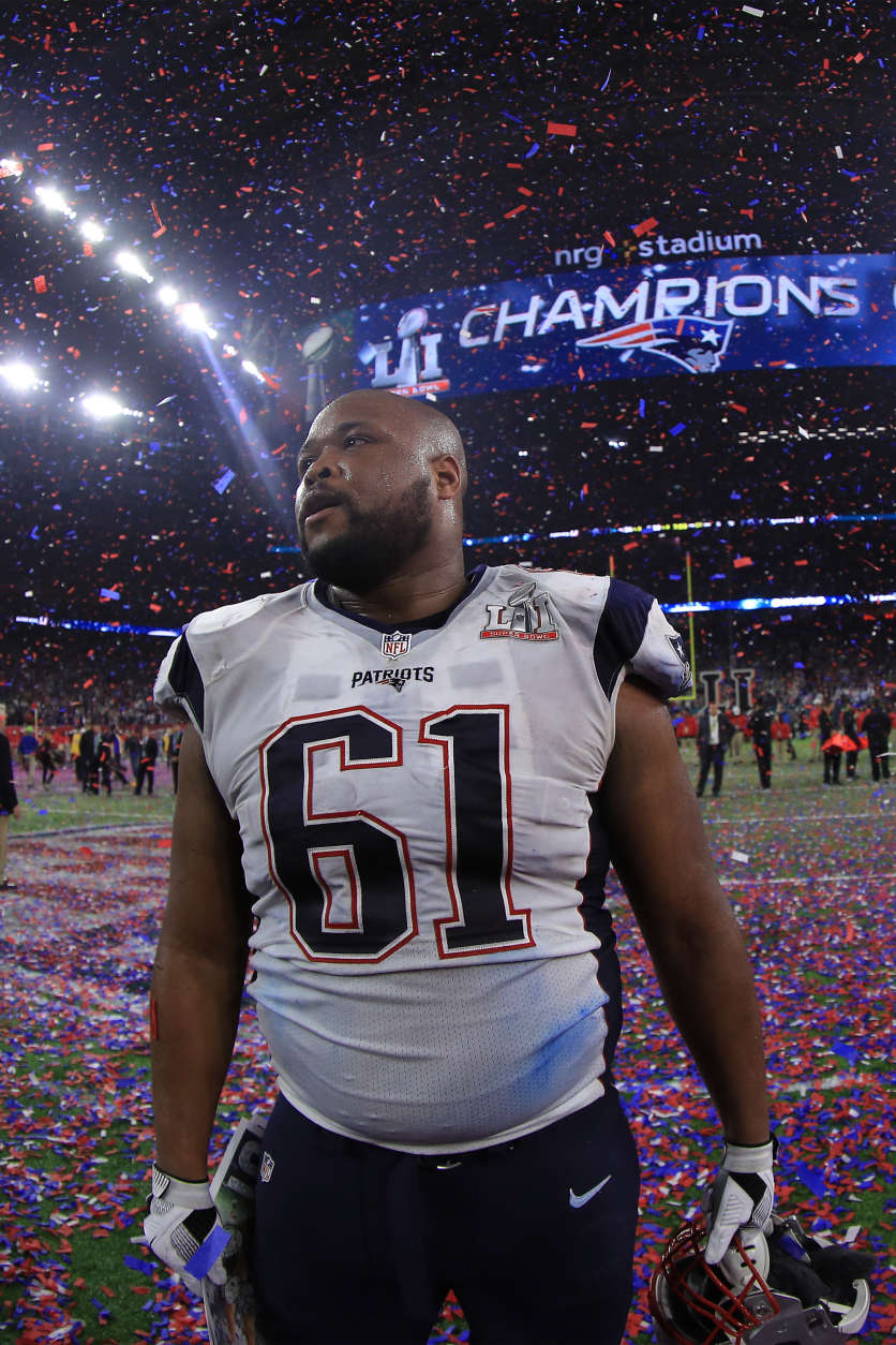 HOUSTON, TX - FEBRUARY 05: Marcus Cannon #61 of the New England Patriots celebrates after his team wins super bowl 51 against the Atlanta Falcons at NRG Stadium on February 5, 2017 in Houston, Texas. The New England Patriots defeated the Atlanta Falcons 34-28.  (Photo by Mike Ehrmann/Getty Images)