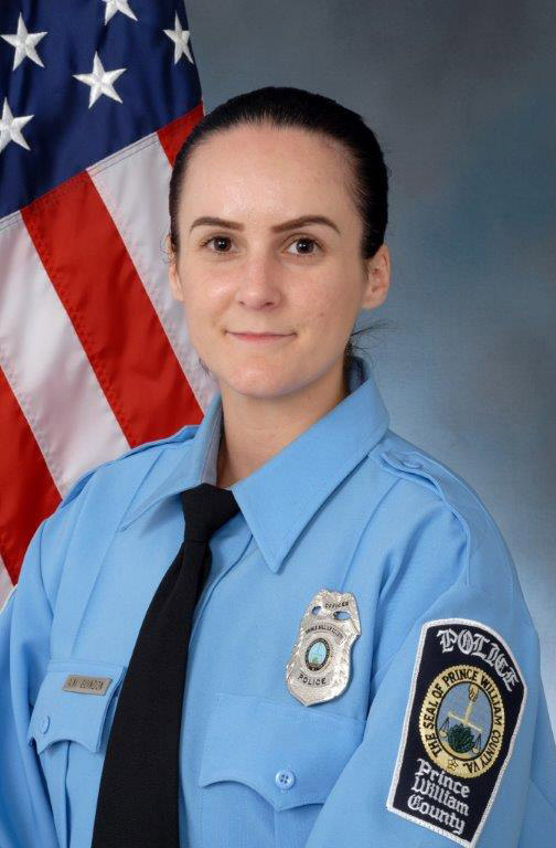 This undated photo provided by the Prince William County, Va. Police shows Officer Ashley Guindon. Ronald Williams Hamilton is being held without bond in the Prince William County Adult Detention Center on charges that include murder of a law enforcement officer, Guindon. A judge weighs a defense request for a gag order on lawyers in the capital murder case against a soldier charged with killing a police officer on her first shift. (Prince William County Police via AP)
