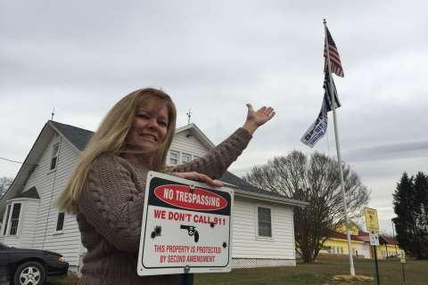 Md. woman lets her Trump flag fly with yard display (Photos)