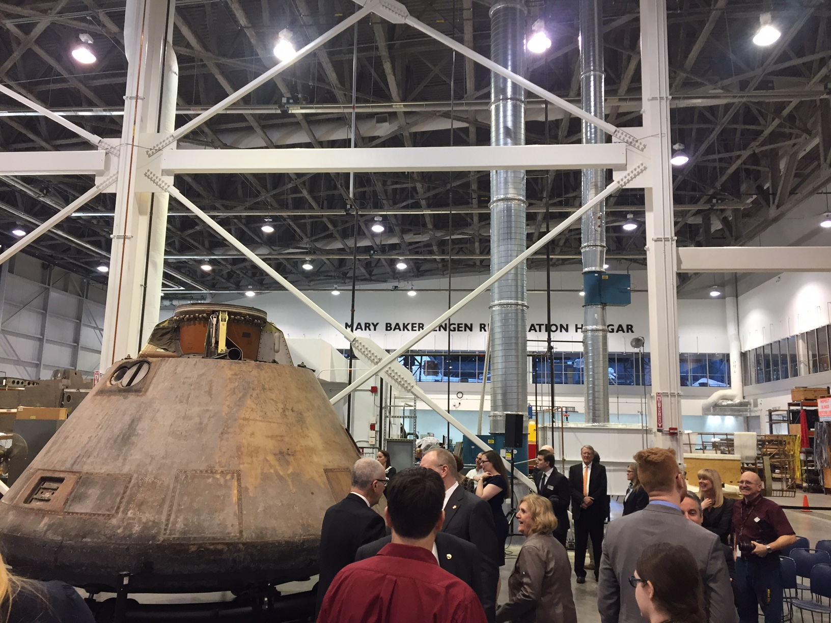 The Apollo 11 command module, inside the restoration hangar at the Air and Space Museum's Udvar-Hazy Center. (WTOP/John Aaron)