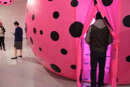The entrance into one of the mirrored rooms where visitors will find a series of spotted pink orbs. (WTOP/Megan Cloherty)