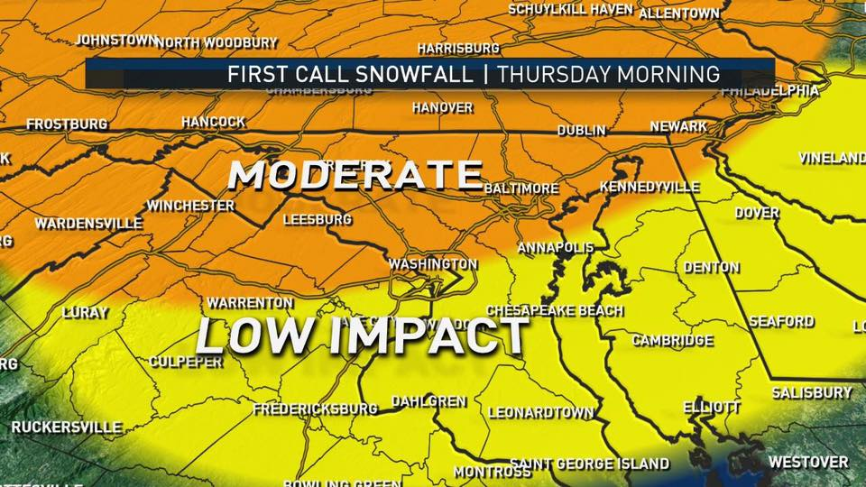 Impact map for the area. (Courtesy NBC Washington)