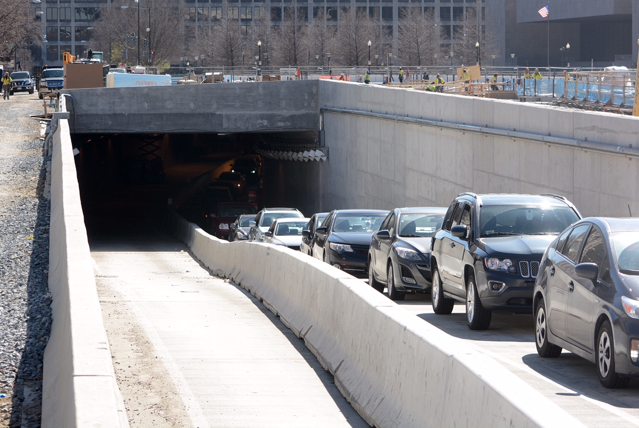 A separate portal, leading northbound drivers from 3rd Street Tunnel into the daylight, is expected to be fully open by early April, weather permitting. A semi-permanent lane closure has caused chronic traffic backups for months. (WTOP/Dave Dildine)