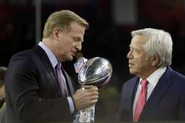 NFL Commissioner Roger Goodell, left, congratulates New England Patriots owner Robert Kraft after the NFL Super Bowl 51 football game between the Atlanta Falcons and the New England Patriots Sunday, Feb. 5, 2017, in Houston. The New England Patriots won 34-28. (AP Photo/Mark Humphrey)
