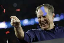 New England Patriots head coach Bill Belichick celebrates after the NFL Super Bowl 51 football game against the Atlanta Falcons Sunday, Feb. 5, 2017, in Houston. The New England Patriots won 34-28. (AP Photo/David J. Phillip)