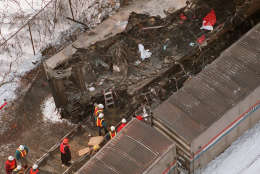 The front car of a MARC commuter train is seen in this aerial view Saturday, Feb. 17, 1996 in Silver Spring, Md. An Amtrak train and the MARC commuter train were involved in a collision Friday night, killing at least 11 people. (AP Photo/Doug Mills)