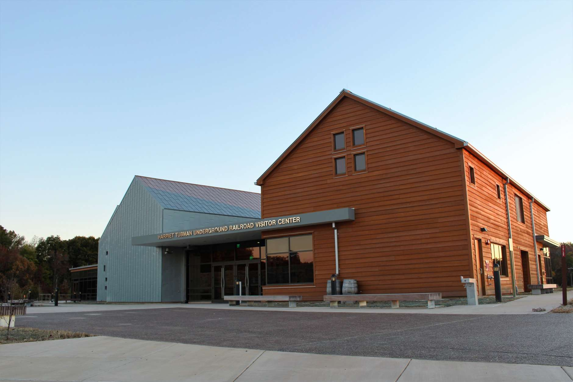 The National Park Service says the front of the visitors center is oriented to take visitors from the red timber of Harriet Tubman's youth on the southern end of the building to the possibilities of freedom offered in the north. (NPS Photo/ Beth Parnicza)