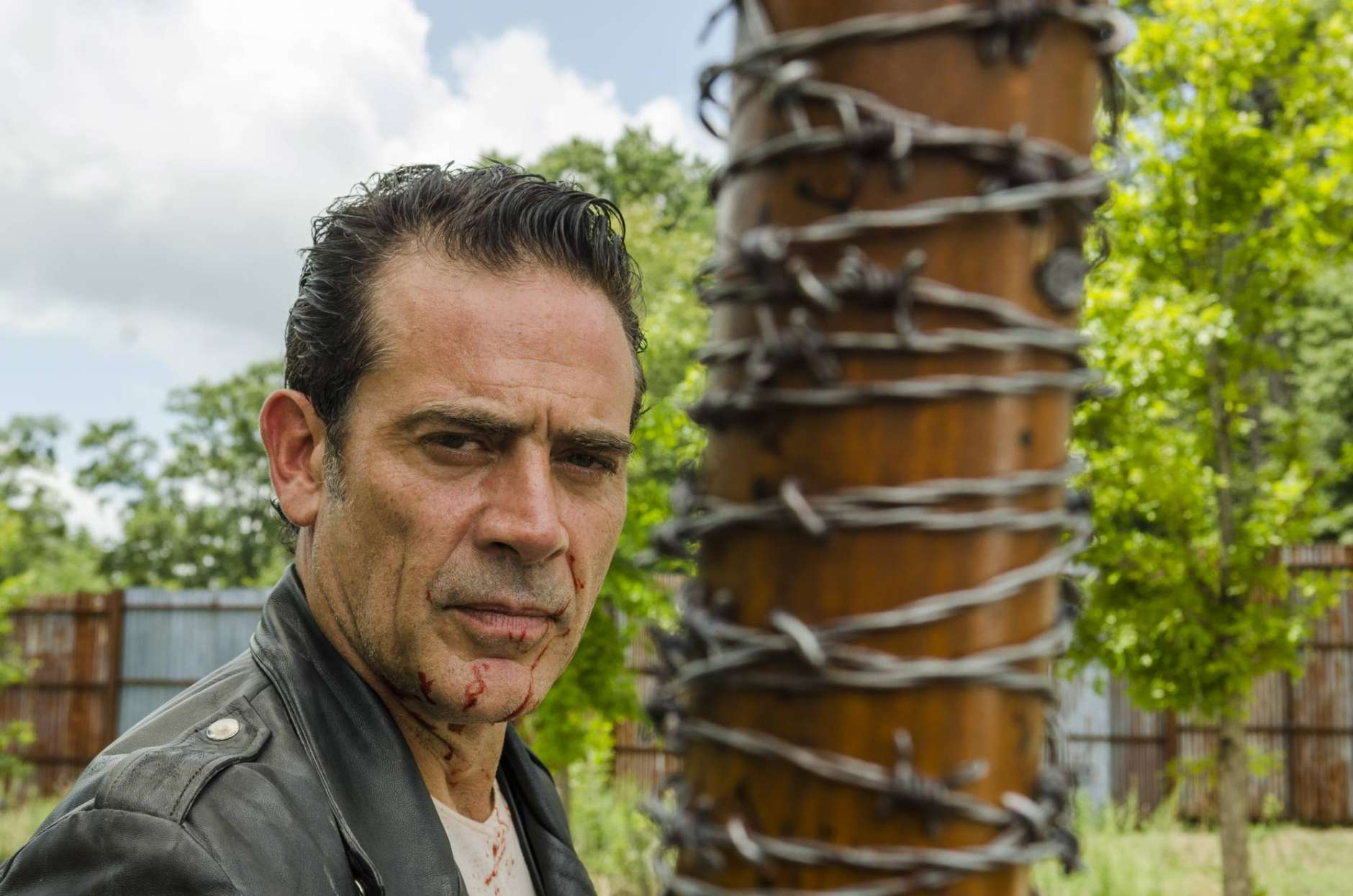 """This image released by AMC shows Jeffrey Dean Morgan as Neganfrom the series, """"The Walking Dead."""" The popular zombie series makes its midseason return Sunday on AMC. (Gene Page/AMC via AP)"""
