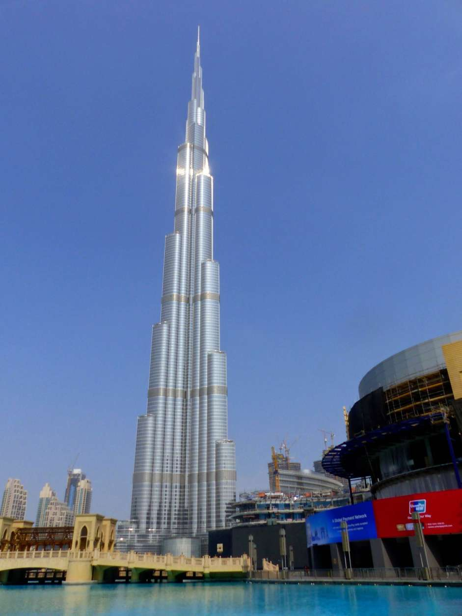This Sept. 8, 2016 photo shows the needle-like exterior of the Burj Khalifa, in downtown Dubai, United Arab Emirates. It is the world's tallest structure at 2,717 feet or twice the height of New York's Empire State Building. It takes a little over a minute by high-speed elevator to reach its observation decks.(Dean Fosdick via AP)
