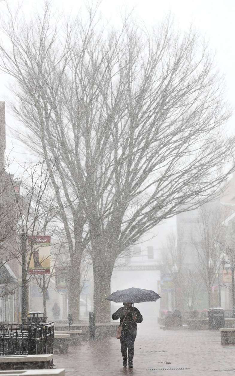 Yoselin Castaneda of Winchester, Va. uses an umbrella to shield herself from a brief but heavy snow shower as she shops on the Loudoun Street Pedestrian Mall in Winchester, Va. Thursday, Feb. 9, 2017. (Jeff Taylor/The Winchester Star via AP)