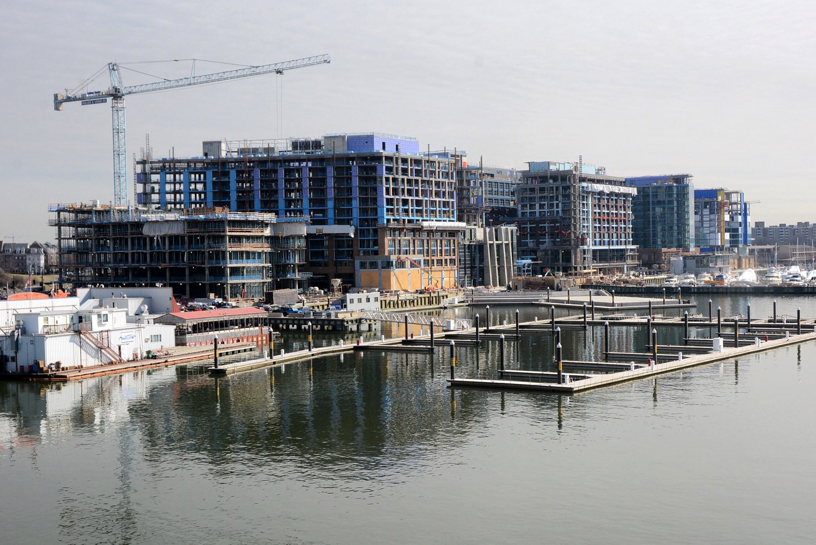 Construction continues on the new buildings that are part of The Wharf project along the Southwest Waterfront in this February 2017 file photo. (WTOP/Dave Dildine)