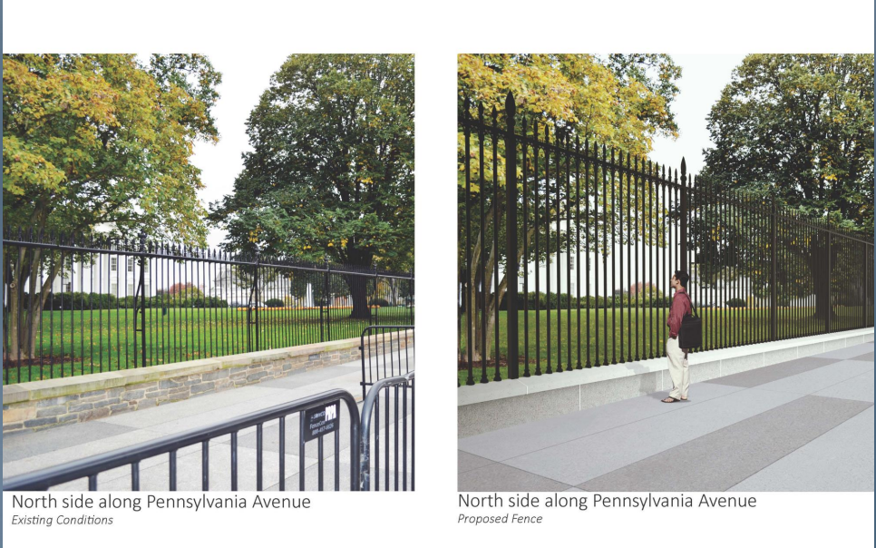 This photo compared with the mock-up of the new fence also clearly shows the five foot difference in height. (Courtesy National Capital Planning Commission)
