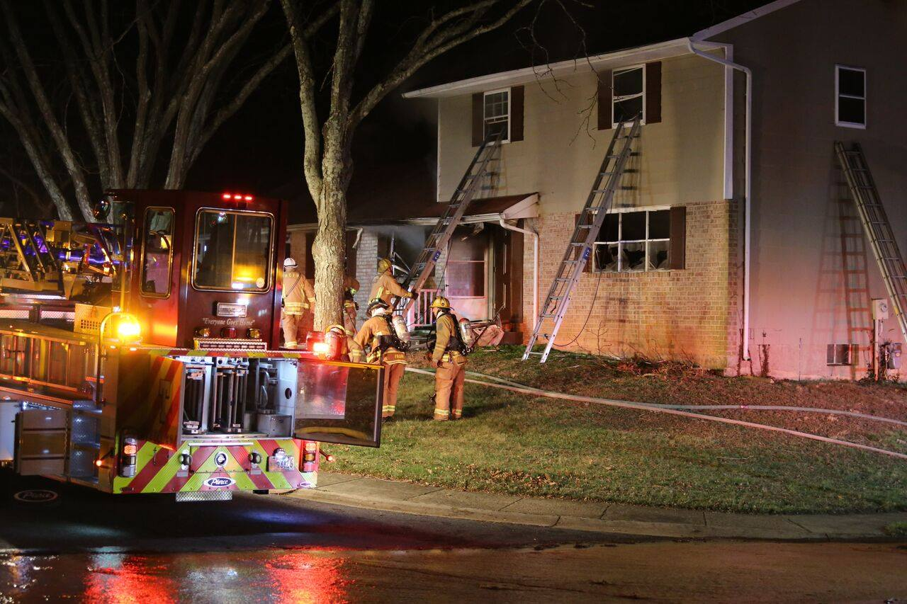 Firefighters arrived on the 10900 block of Rum Cay Court in Columbia Saturday at around 9:30 p.m. and found the first floor of a house on fire. (Courtesy Howard County Department of Fire and Rescue Services)