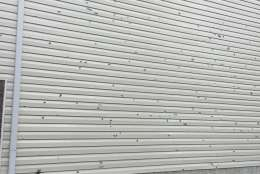 Hail causes damage to the side of a building on Saturday, Feb. 25, 2017. (Courtesy Christus Gruters)