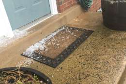 Hail piles up on the doorstep of a home in Stafford County, Virginia. (Courtesy Christus Gruters)