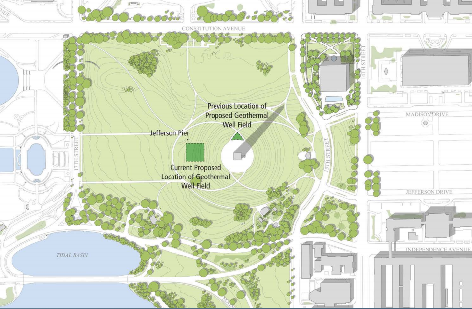 Geothermal wells will go in 20 feet to the east of the monument to help maintain the temperature both within the monument itself and within the visitors center. (Courtesy National Capital Planning Commission)