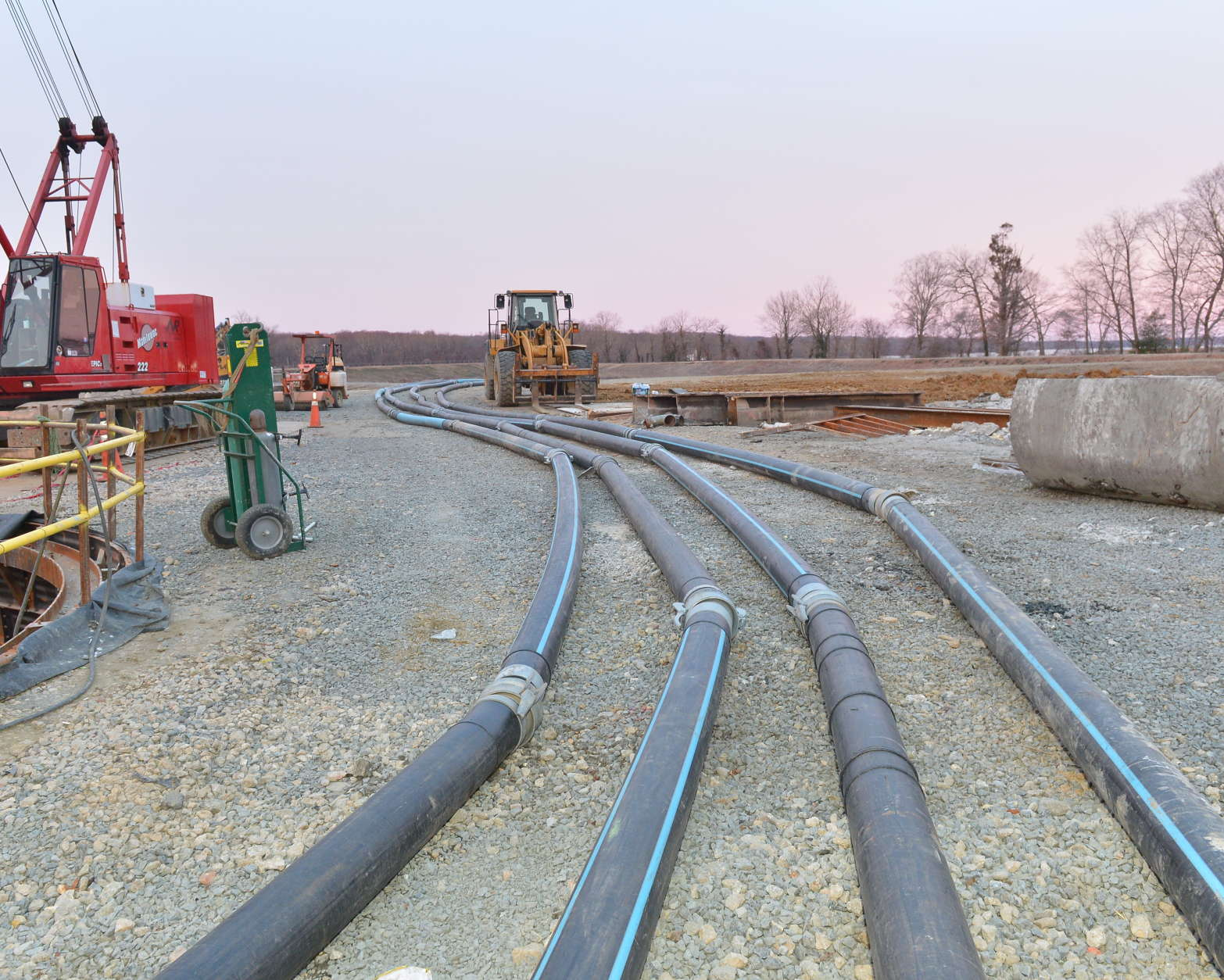 These pipes pull sewage into retention basins. (Courtesy WSSC)