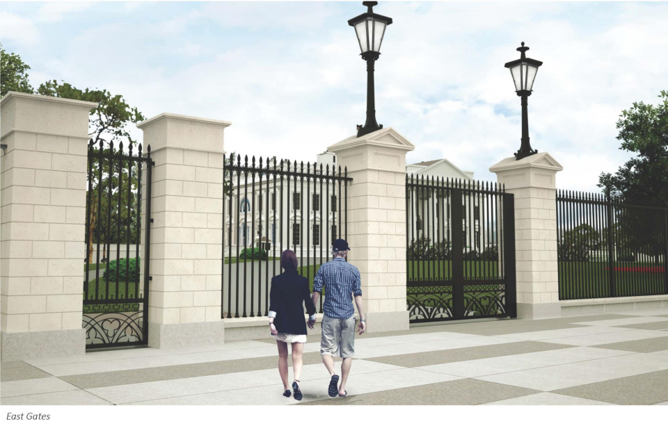 The previous gate proposal included pillars surrounding pedestrian entrances, which have since been removed. (Courtesy National Capital Planning Commission)