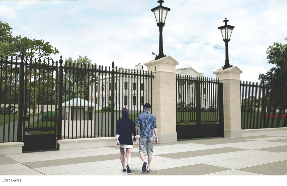 While this mock up of the fence looks nearly identical, the pillars are removed from the pedestrian entrance to create a clearer view to the White House grounds and the base of the entrance is supported by a panel of steel. (Courtesy National Capital Planning Commission)