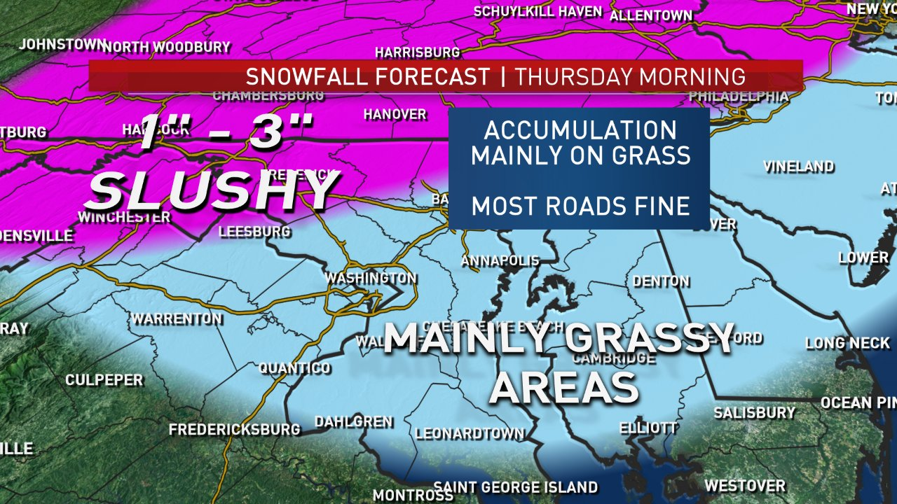 Expected snow totals for Thursday. While a lot will accumulate in the grassy areas and on cars, areas north and west of D.C. could see some accumulation on the roads. Be careful traveling in these areas. (Courtesy NBC Washington)