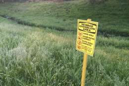 Warning signs like this have been placed all around Piscataway Creek.