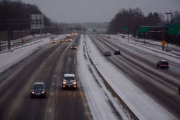 FILE -- Interstate 270, slushy and sloppy, is seen on the morning of March 14, 2017. (WTOP/Dave Dildine)