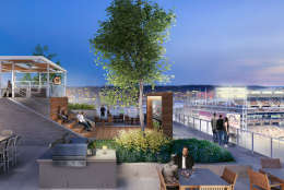 A rendering of the F1RST residential building in Southeast D.C. The rooftop terrace includes a pool, dog park and view into Nats Park. (Courtesy Grosvenor America)