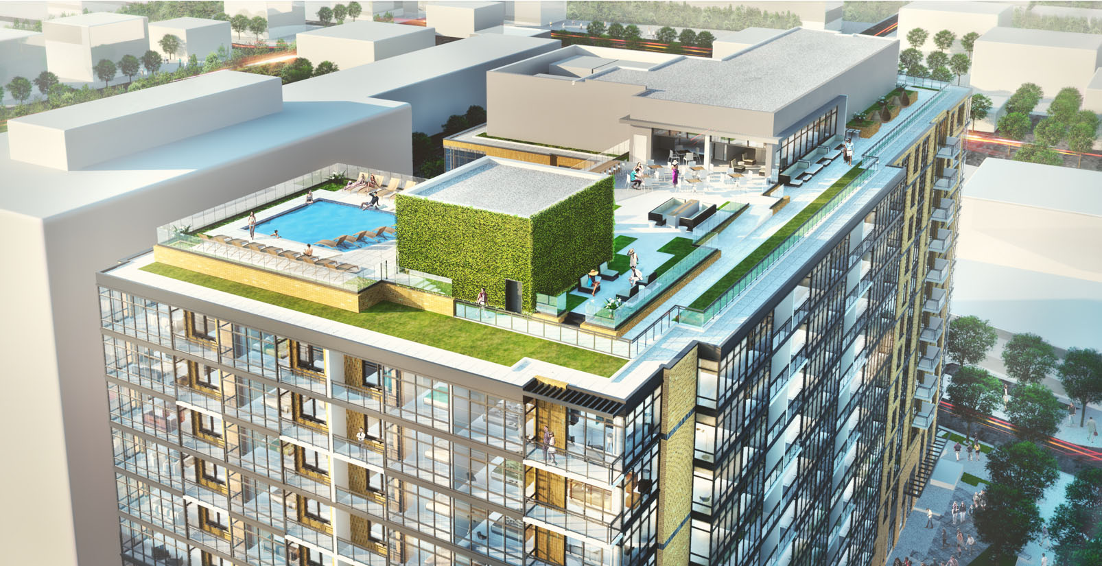 A rendering of the Insignia on M, which boasts a penthouse-level bar, that includes a bar, pool table, living area, grilling stations as well as a rooftop pool and gardens -- in addition to 24-hour concierge service.  (Courtesy Donohoe)