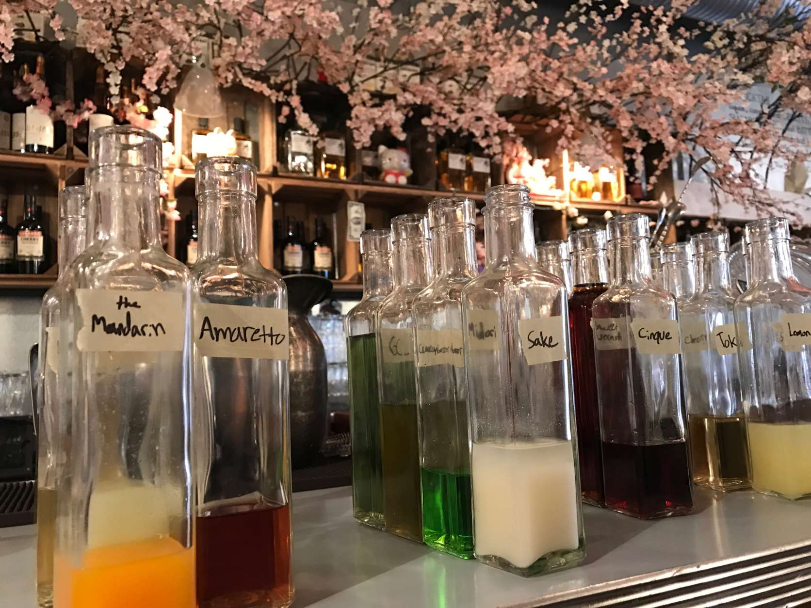 The Japanese-inspired cocktails all are crafted using hand-mixed syrups that have to be made in large batches to accommodate customer demand. (WTOP/Megan Cloherty)