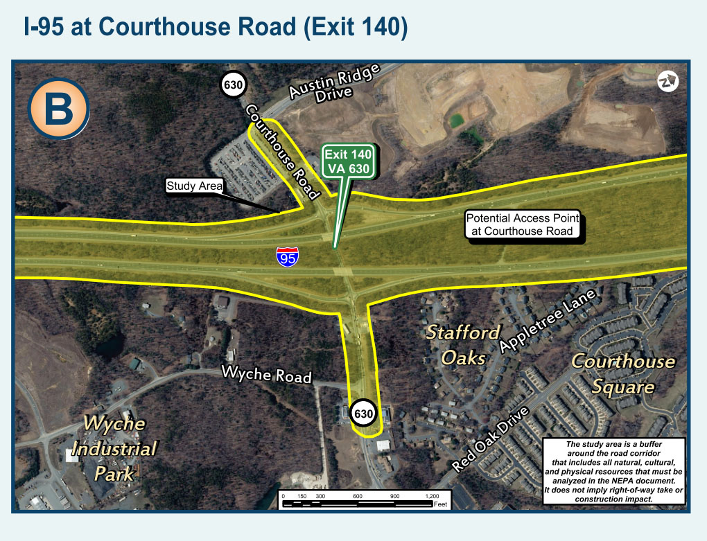 There would be another entrance and exit for the Express Lanes at Exit 140 for Courthouse Road in the extension plan (Courtesy VDOT)